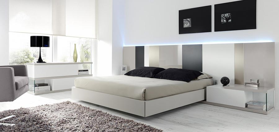 Dormitorio con luz en cabecero de emede deslan Cabeceros con luz